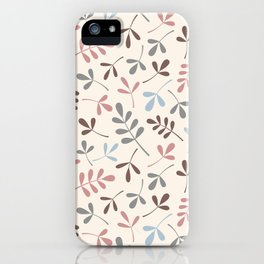 Assorted Leaf Silhouettes Pastel Colors Pattern iPhone Case