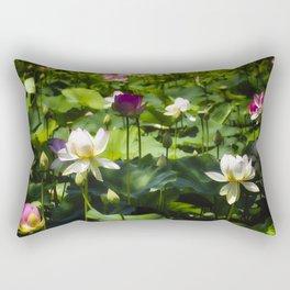 Blooming Lotus Flowers Outdoors Rectangular Pillow
