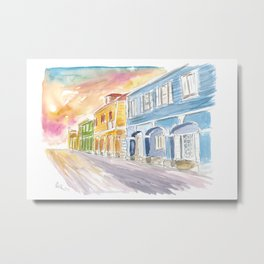 Christiansted US Virgin Islands Colonial Street Scene At Sunset St Croix Metal Print