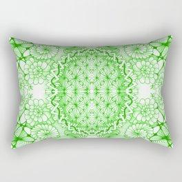 Green Zentangle Tile Doodle Design Rectangular Pillow