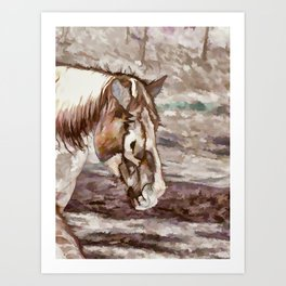 Portrait of Red Horse in summer Art Print