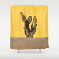 cacti Shower Curtains featuring CACTI by MODERN UNDERGROUND