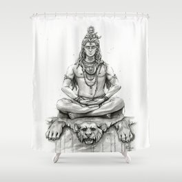 Lord Shiva Painting, Shiva Art, Meditation Shiva Portrait Shower Curtain