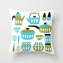 My Midcentury Modern Kitchen In Aqua And Avocado Throw Pillow