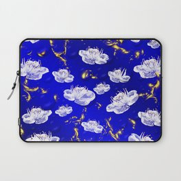 white blossom in blue and gold Digital pattern with circles and fractals artfully colored design Laptop Sleeve