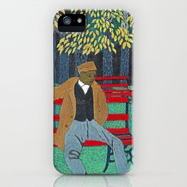African American Masterpiece 'Man on a Bench' by Horace Pippin iPhone Case