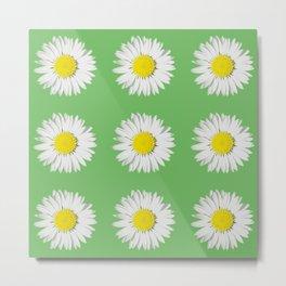 Retro Daisy · Green Metal Print