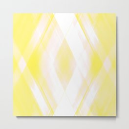 Light warm triangular strokes of intersecting sharp lines with canary triangles and stripes. Metal Print