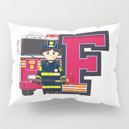 F is for Fireman Illustration Pillow Sham