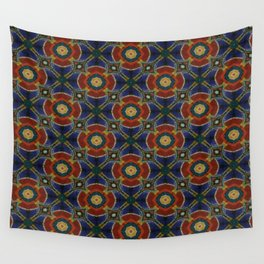 Orange Blue Circular Spinners Wall Tapestry