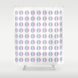 Parody of the french flag 7 -France,Paris, pink, Marseille, lyon, Bordeaux,love, girly,fun,idyll,Nic Shower Curtain