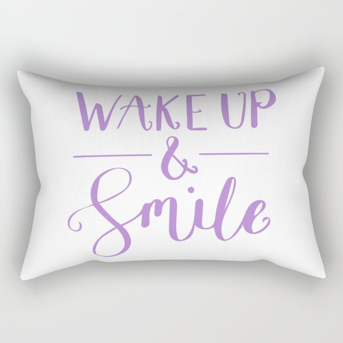 Happy Quotes Wake Up And Smile Rectangular Pillow By