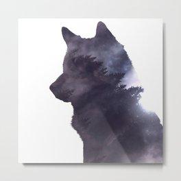 Dark Forest Wolf Metal Print