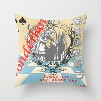alice in wonderland Throw Pillows featuring Wonderland by TooShai Studios