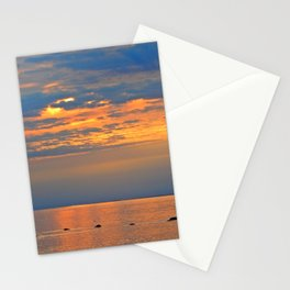 Golden Sunset Sparkle Stationery Cards