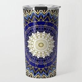 Bohemian Bright Blue and Gold Mandala Travel Mug
