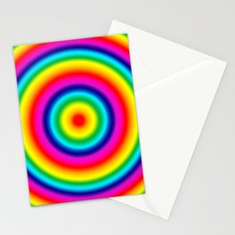 Psychedelic Rainbow Circles Pattern  Stationery Cards