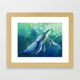 Mama & Baby Whale Framed Art Print