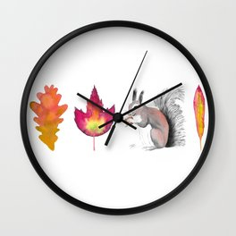 Leaf-Leaf-Squirrel-Leaf Wall Clock