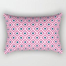 Pink and Navy Blue Diamonds Ikat Pattern Rectangular Pillow