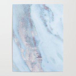 Light Blue Gray Marble Poster