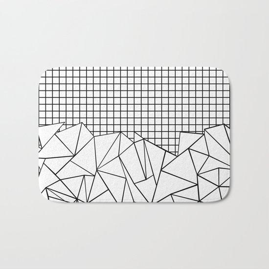 Abstract Grid #2 Black on White Bath Mat