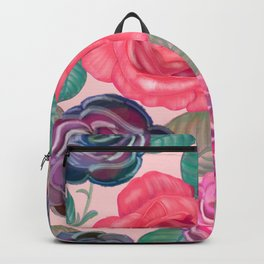 Watercolor roses and mix flower bouquet pattern pink background Backpack