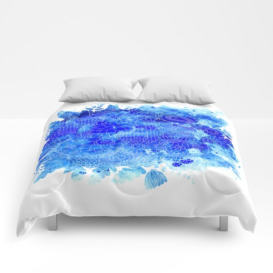 Blue Floral Pattern 02 Comforters