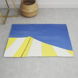 Minimalist Blue Yellow White Circus Tent Abstract Rug