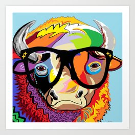 "Hipster Bison ""Buffalo"" Art Print"