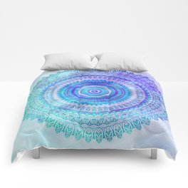 Blue Turquoise And Purple Watercolor Mandala Art Comforters