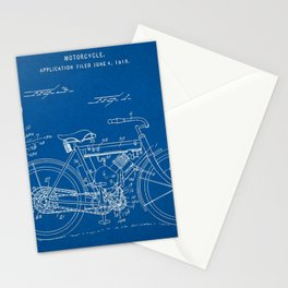 1919 W. J. Canfield Motorcycle Blueprint Patent Print Stationery Cards