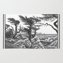 MONTEREY CYPRESS AND POINT LOBOS PEN DRAWING IN CROSSHATCH Rug