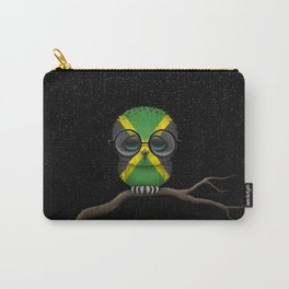 Baby Owl with Glasses and Jamaican Flag Carry-All Pouch