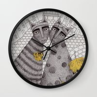 hats Wall Clocks featuring Two Cats Without Hats by Judith Clay
