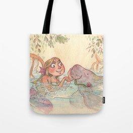 Mermaid and her manatee Tote Bag