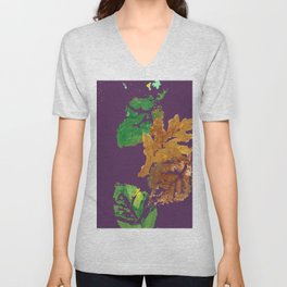 Four Autumn Leaves in brown gold green plum purple Unisex V-Neck