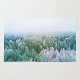 Snowy Evergreen Forest (Color) Rug