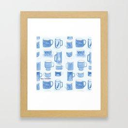 Blue coffee cups Framed Art Print
