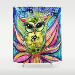 Lotus Owl original illustration from Spirit Owl Series by Sheridon Rayment Shower Curtain