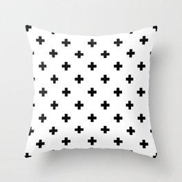 Swiss cross pattern in black Throw Pillow