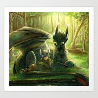 hiccup Art Prints featuring Hiccup and Toothless by PuppyChowArts