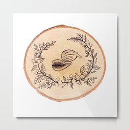 Fig Wreath Botanical Wood Study Illustration Metal Print