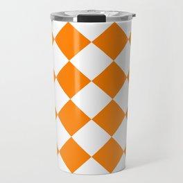 Large Diamonds - White and Orange Travel Mug