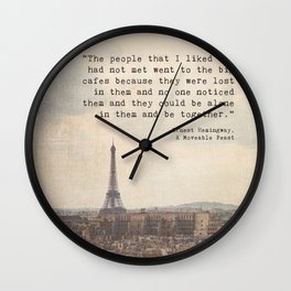 Hemingway in Paris Wall Clock