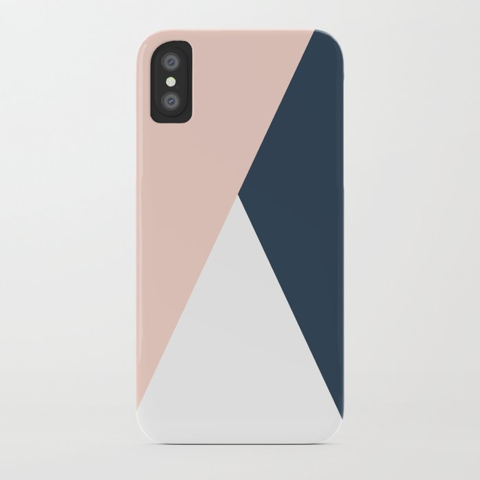 Elegant blush pink & navy blue geometric triangles iPhone Case