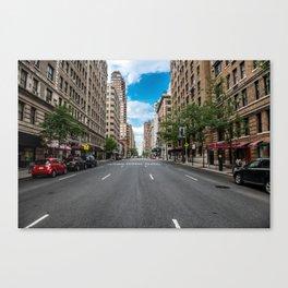 New York City Manhattan empty street at Midtown at sunny day Canvas Print