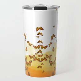 Monarch Butterflies on Watercolor Ombre Background Travel Mug