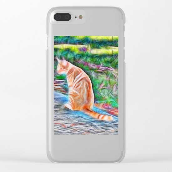 Orange cat sitting on a path in rural Queensland, Australia Clear iPhone Case