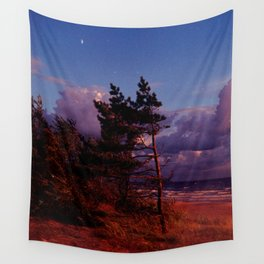 Red Pine and Moon Wall Tapestry